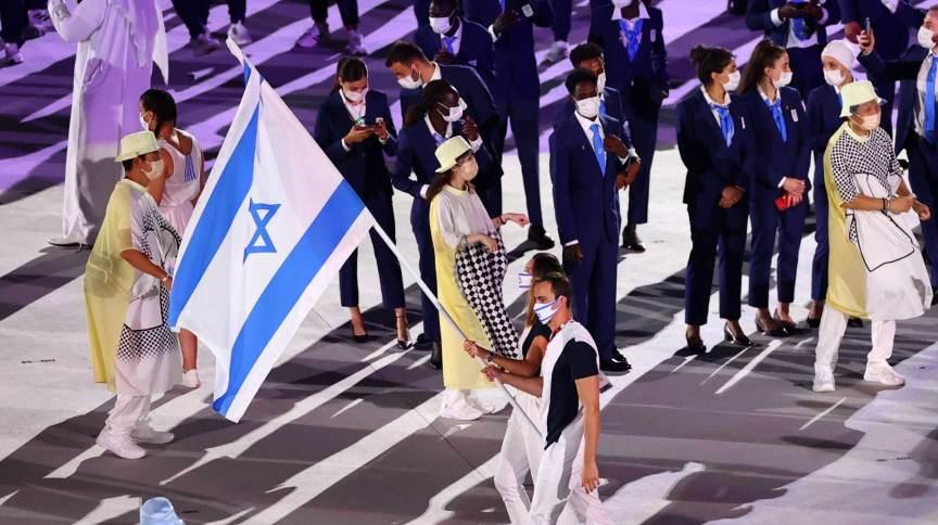 Delegação de Israel durante cerimônia de abertura das Olimpíadasde 2020