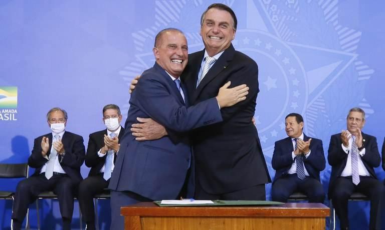 O presidente Jair Bolsonaro e Onyx Lorenzoni