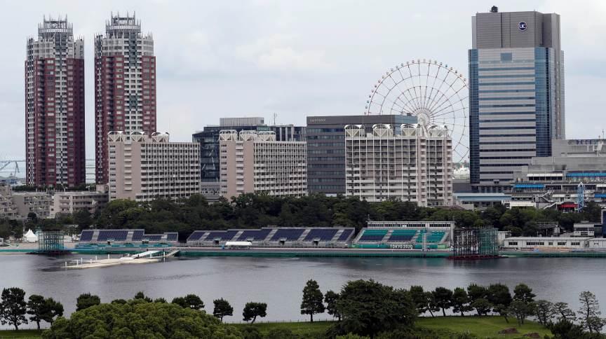 Vista geral do local das competições de maratona aquática e triatlo dos Jogos de Tóquio