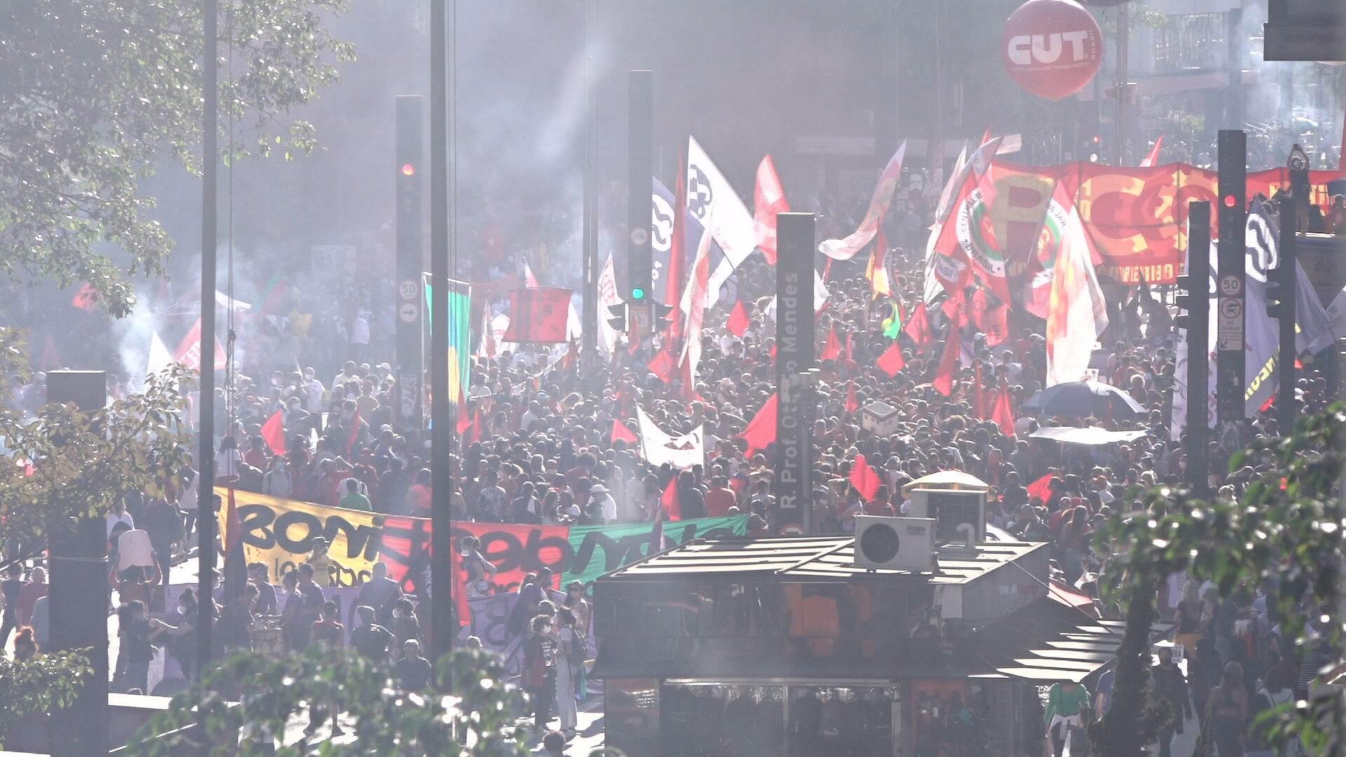 Manifestantes protestam contra governo Bolsonaro em São Paulo (24.Jul.2021)