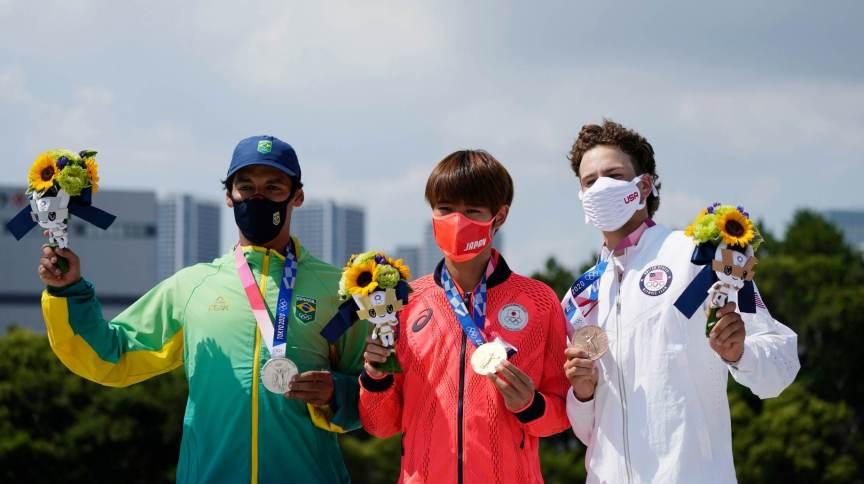 Primeiro pódio da história do skate nos Jogos: Brasil, Japão e Estados Unidos