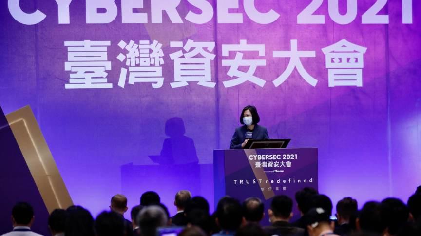 presidente de Taiwan, Tsai Ing-wen, fala durante a abertura da conferência CYBERSEC 2021