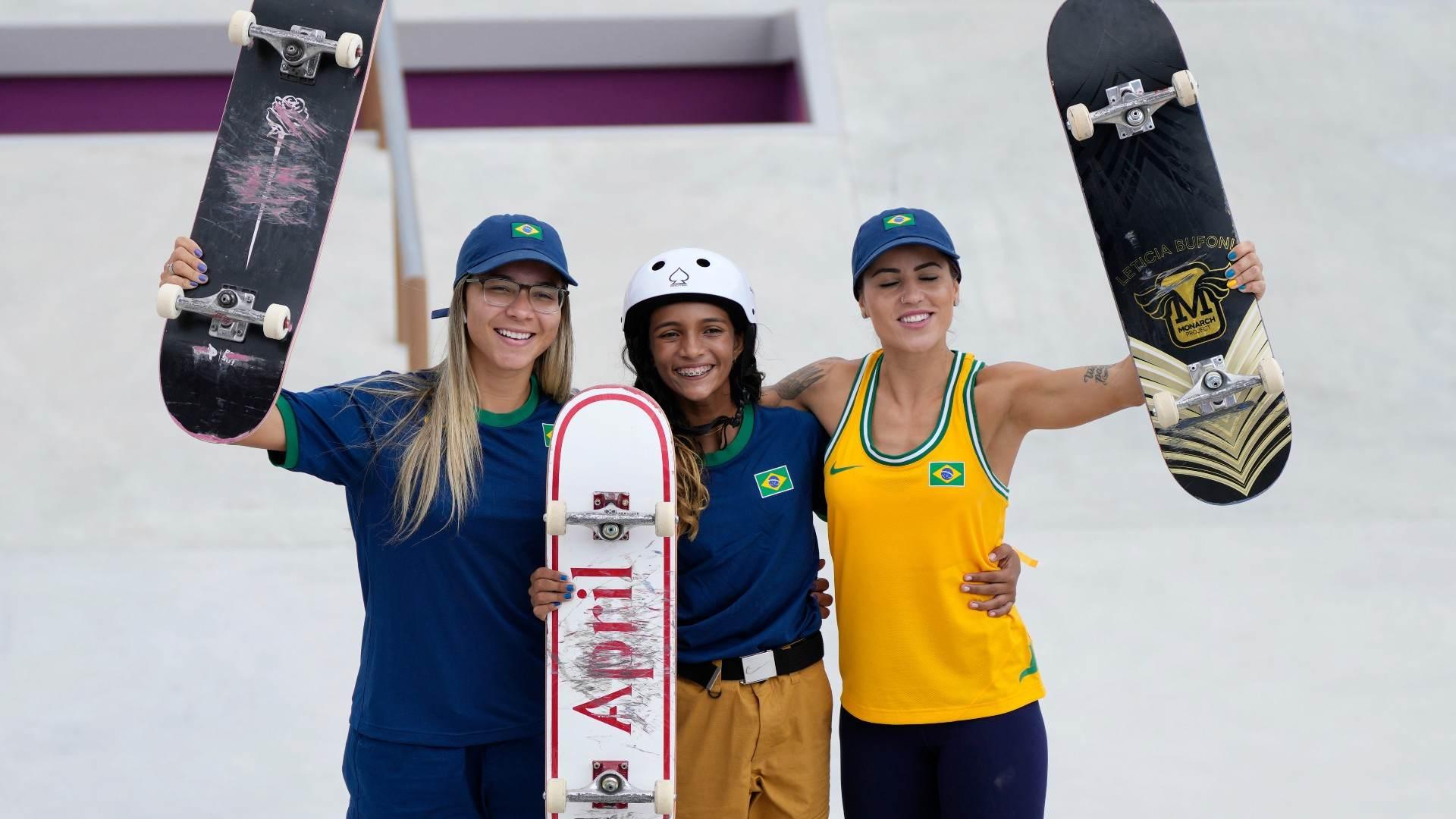 Pamela Rosa, Rayssa Leal e Leticia Bufoni, do skate brasileiro nas Olimpíadas