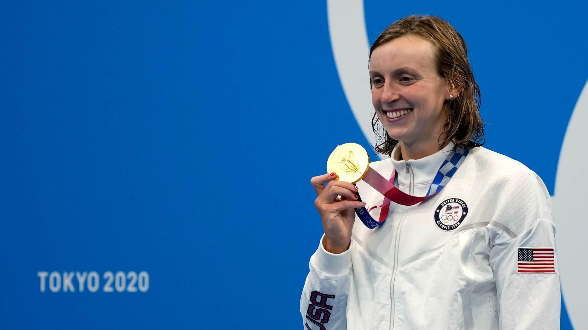 Katie Ledecky, nadadora dos EUA, medalha de ouro nos 1500m livre da natação