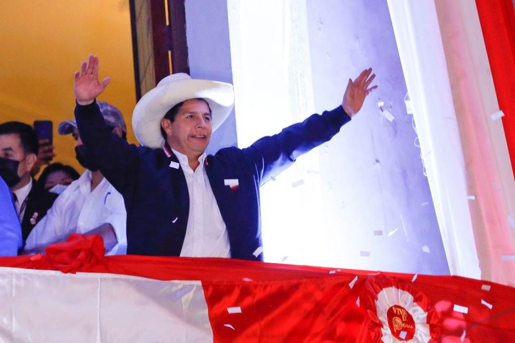 Pedro Castillo ao ser anunciado como vencedor das eleições presidenciais 2021 do