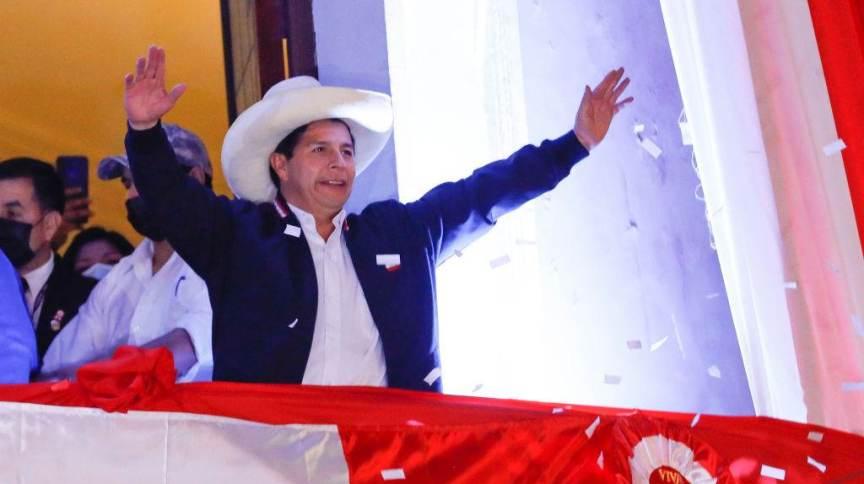 Pedro Castillo ao ser anunciado como vencedor das eleições presidenciais 2021 do Peru