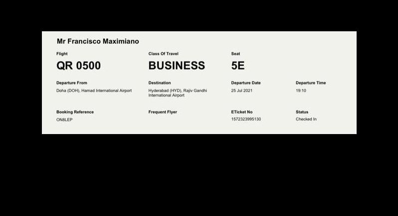 Cartão de embarque de Maximiano