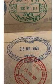 Carimbo no passaporte de Francisco Maximiano