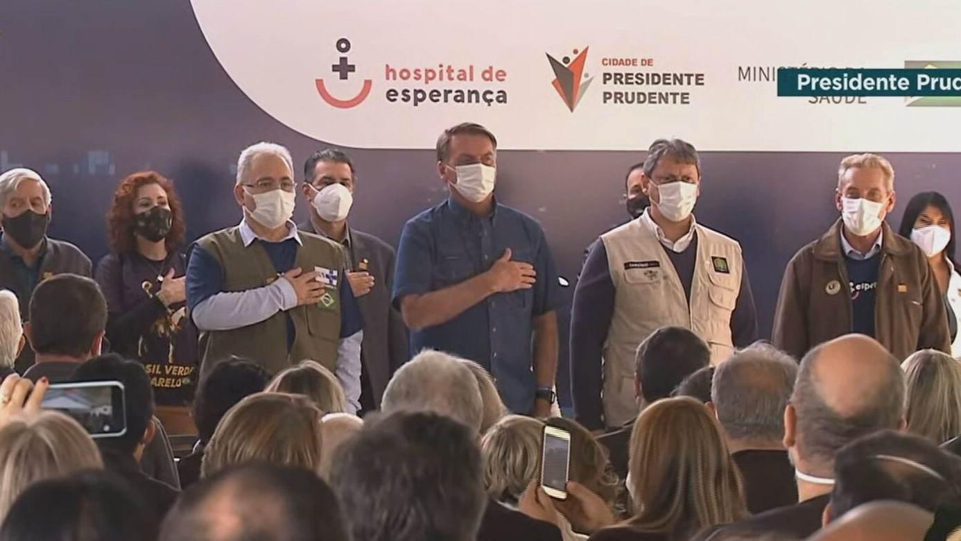 Bolsonaro e Queiroga no Hospital do Câncer de Presidente Prudente