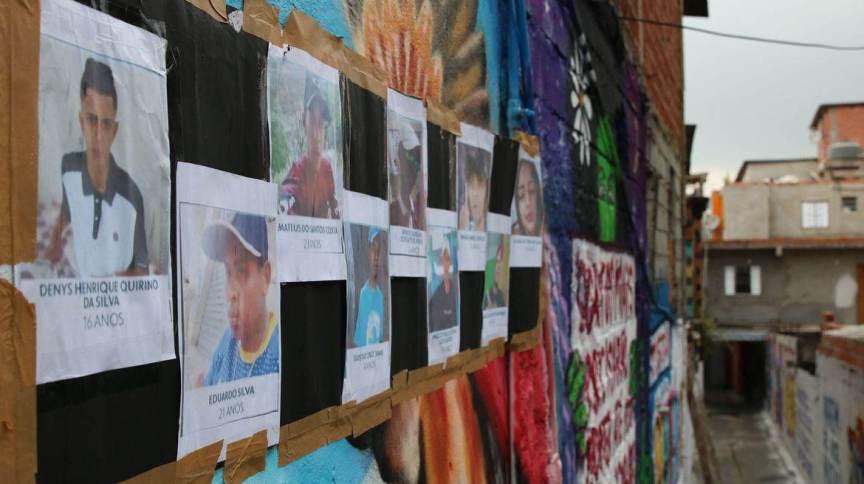 Imagens dos mortos durante operação da Polícia Militar na favela de Paraisópolis; operação Pancadão, realizada em 1º de dezembro de 2019, resultou na morte de nove jovens