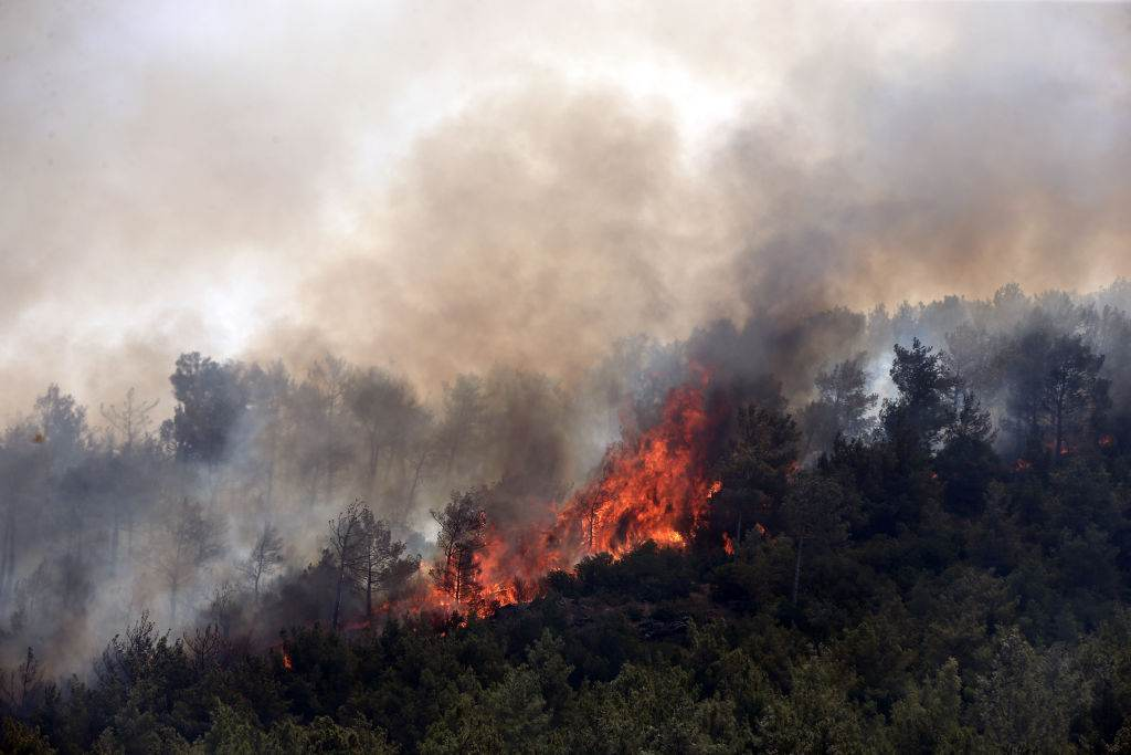 Chamas e fumaça aumentam após  incêndio florestal no distrito de Silifke, em Mer
