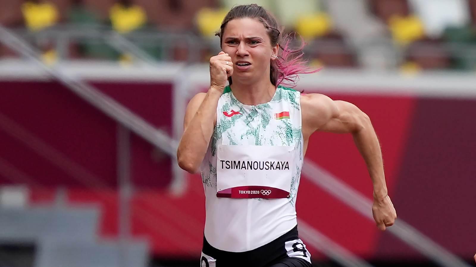 Krystsina Tsimanouskaya, de Belarus, corre prova nas Olimpíadas