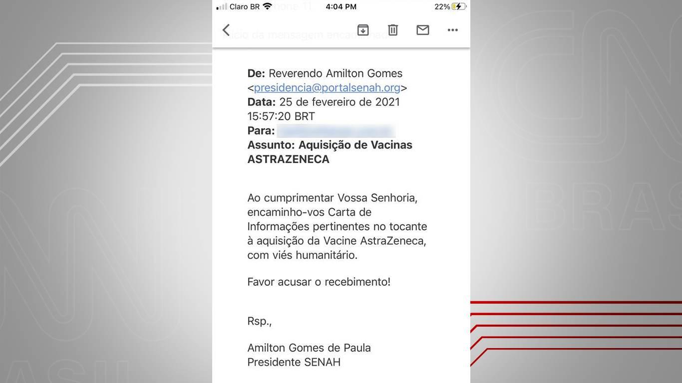 E-mail do reverendo Amilton