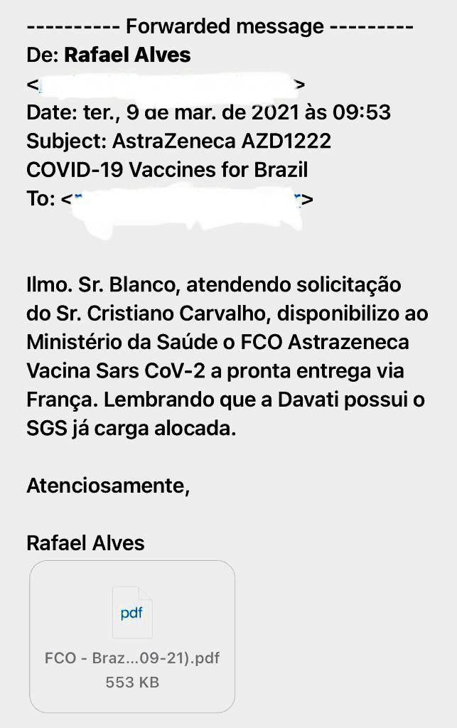 Email enviado para Marcelo Blanco sobre vacinas