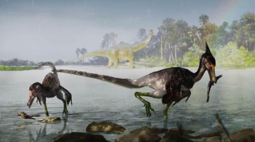 Reconstrução artística de dois dinossauros Ypupiara lopai