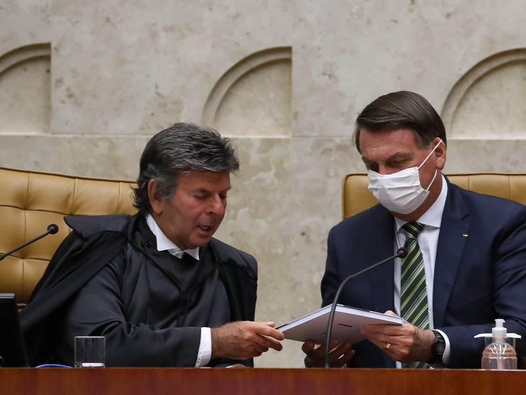 O Ministro Luiz Fux e o presidente Jair Bolsonaro, durante a sessão de Abertura