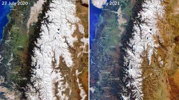 A chuva e a neve escassas estão deixando muitas das majestosas montanhas com áreas irregulares, o que cientistas consideram consequência das mudanças climáticas