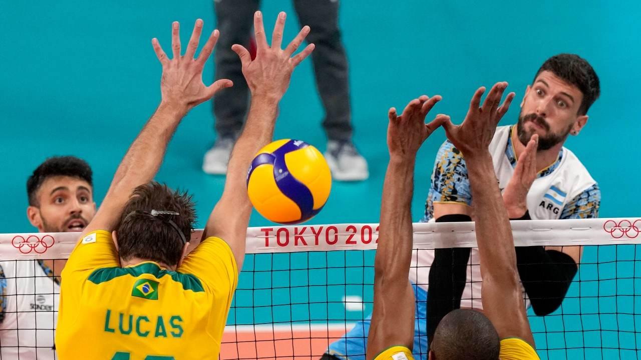 Brasil e Argentina no vôlei masculino