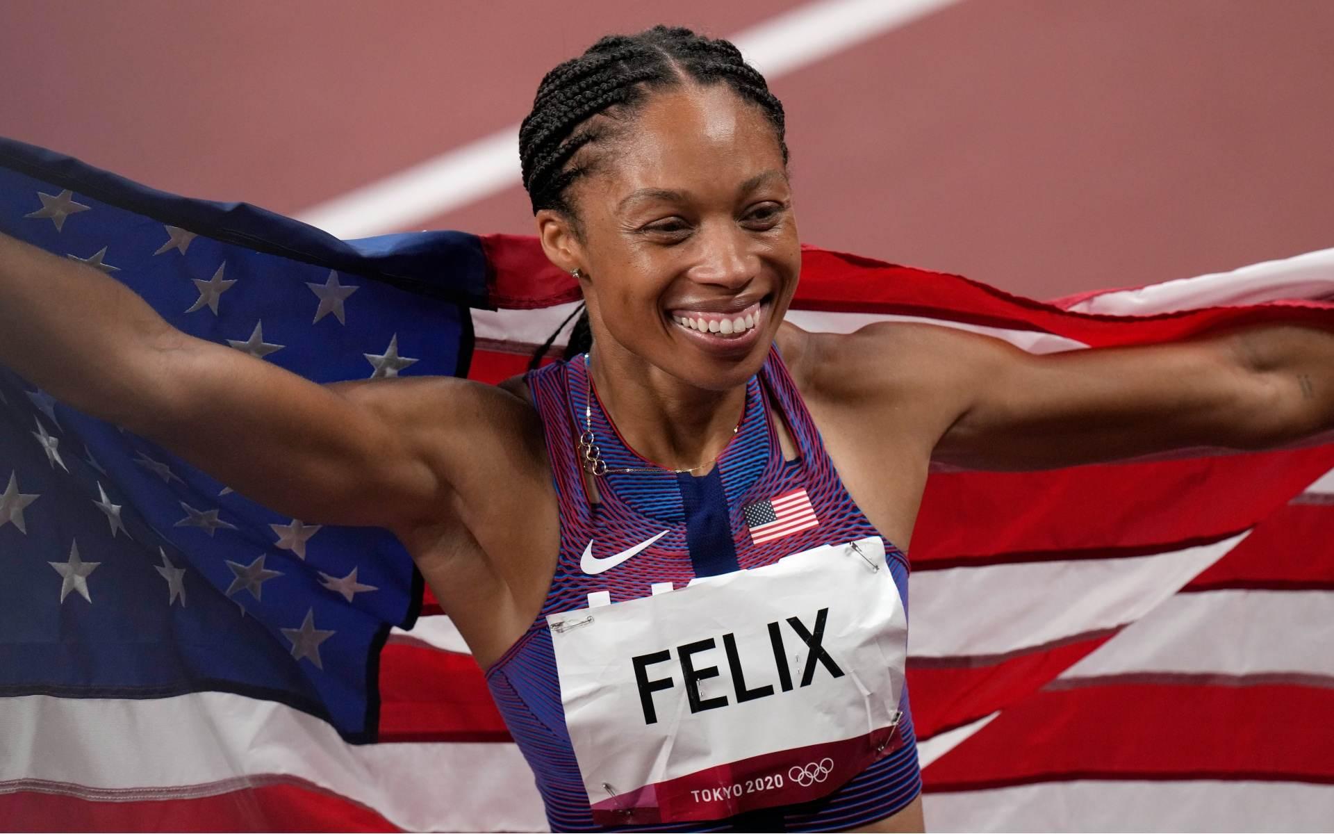 Em Tóquio, velocista dos EUA Allyson Felix conquistou sua 11ª medalha olímpica