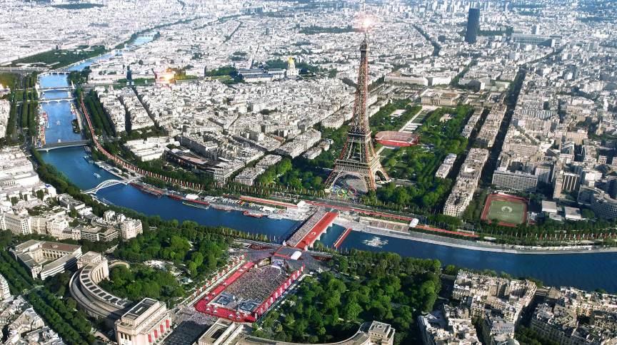 Imagem com projeção de Paris nas Olimpíadas de 2024