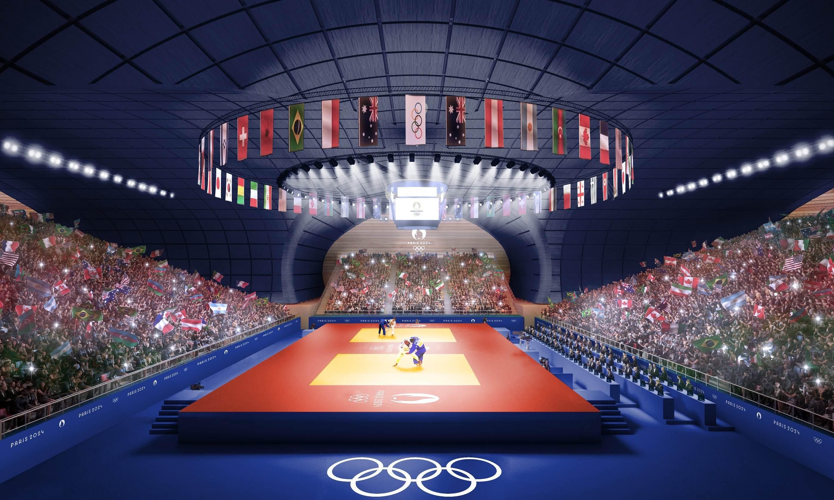 Projeção de arena para lutas na Paris 2024