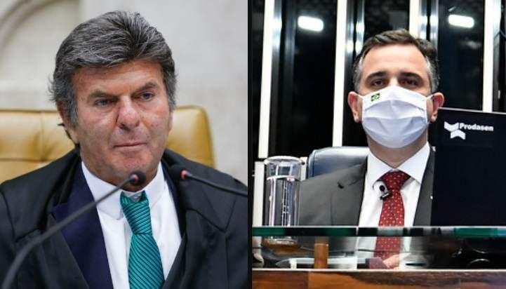 O presidente do STF, Luiz Fux, e o presidente do Senado Federal, Rodrigo Pacheco (DEM-MG)