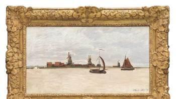 A pintura a óleo em questão, 'O Voorzaan e o Westerhem', está sendo inspecionada em busca de possíveis danos