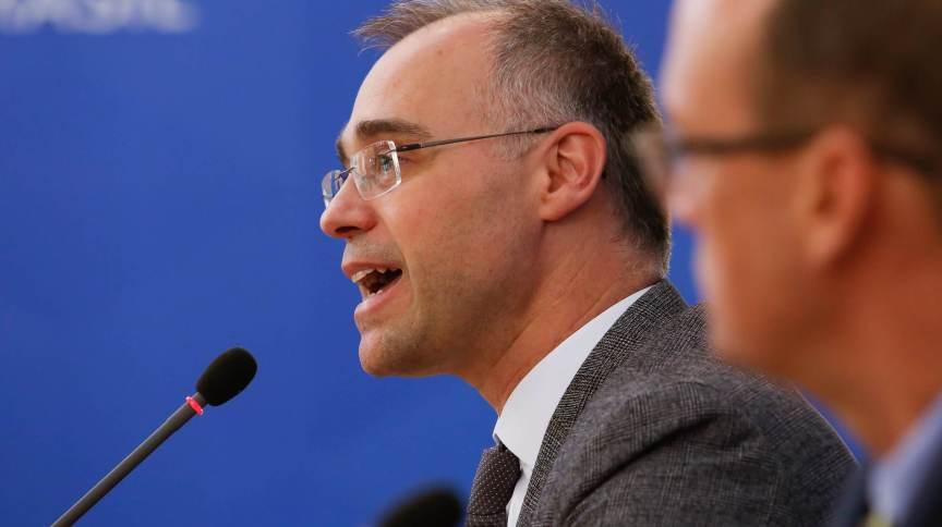 O ministro da Justiça e Segurança Pública, André Mendonça, em entrevista coletiva
