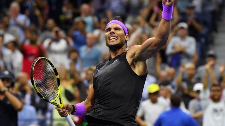 Rafael Nadal comemora match point em jogo pelo US Open de 2019