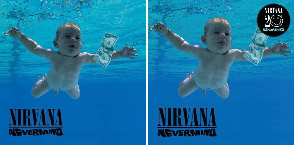 Capas do disco Nevermind, do Nirvana, em 1991 e em 2011
