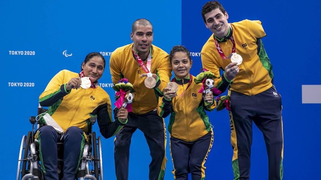 Patrícia Pereira, Daniel Dias, Joana Neves e Talisson Glock conquistaram bronze no revezamento 4x50m até 20 pontos