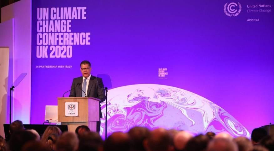 Alok Sharma, membro do Parlamento britânico e presidente da COP26, no lançamento da Agenda Privada de Financiamento da conferência