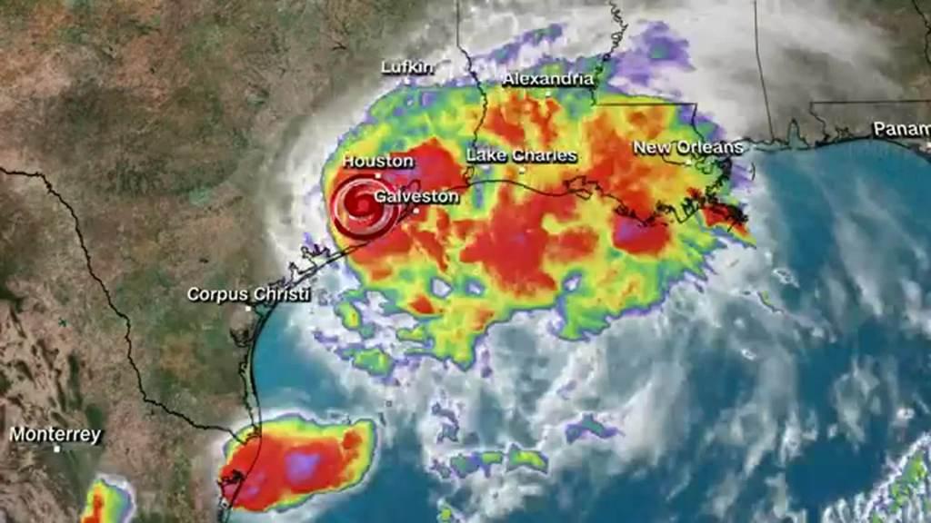 Área afetada pelo furacão Nicholas, que tocou solo no Texas, nos EUA, com ventos de 120 km/h