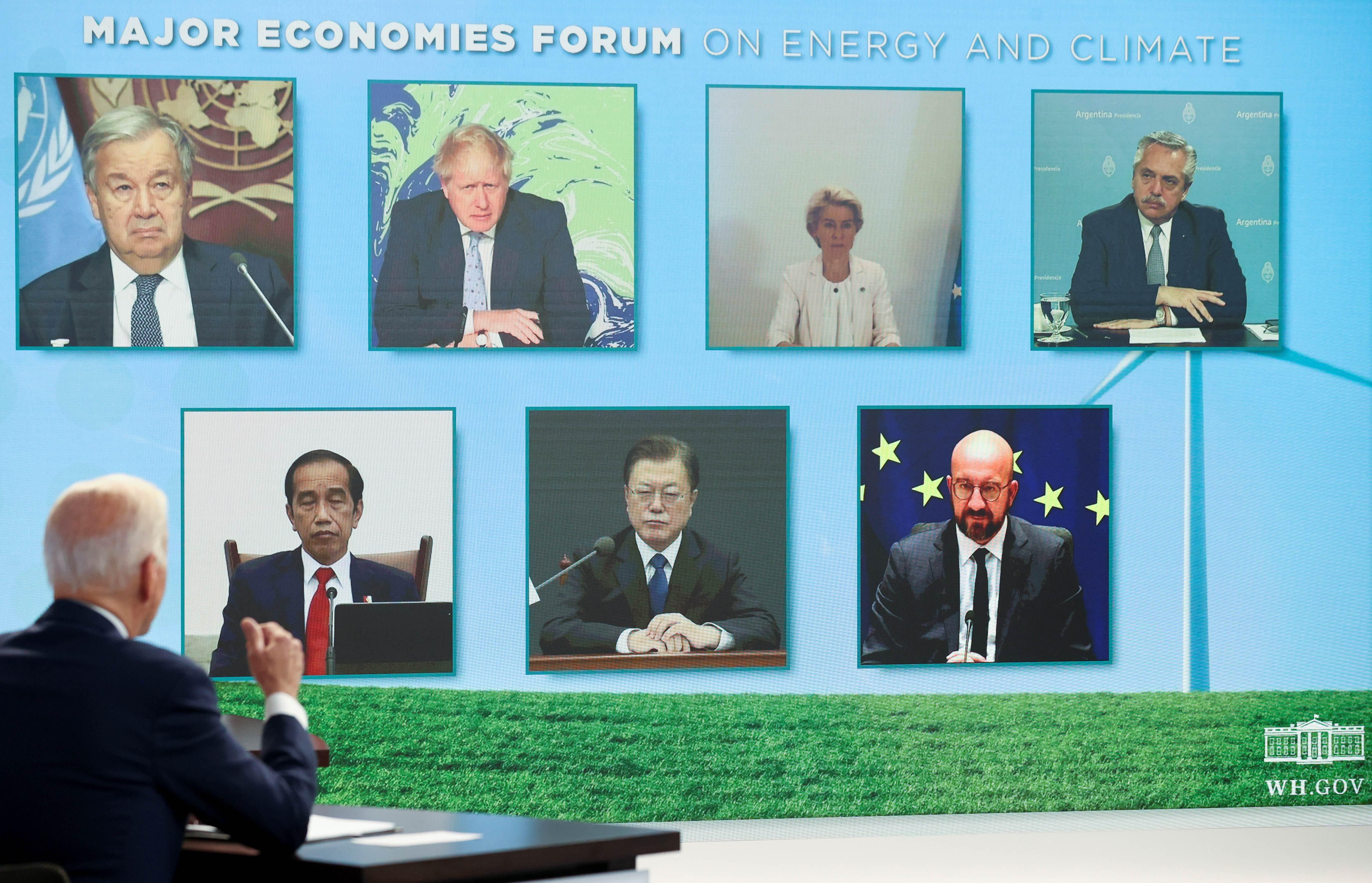 Joe Biden em encontro virtual com vários líderes mundiais para discutir energia e clima