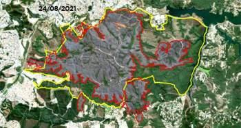 Ao todo, foram queimados 1.175 hectares – equivalentes a 1.646 campos de futebol; fotos foram divulgadas pela Secretaria de Infraestrutura e Meio Ambiente de SP