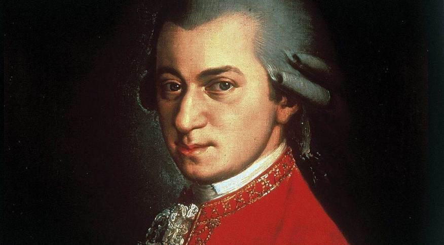 Wolfgang Amadeus Mozart pintado por Johann Nepomuk della Croce: temas melódicos contrastantes de sua sonata acalmam cérebro