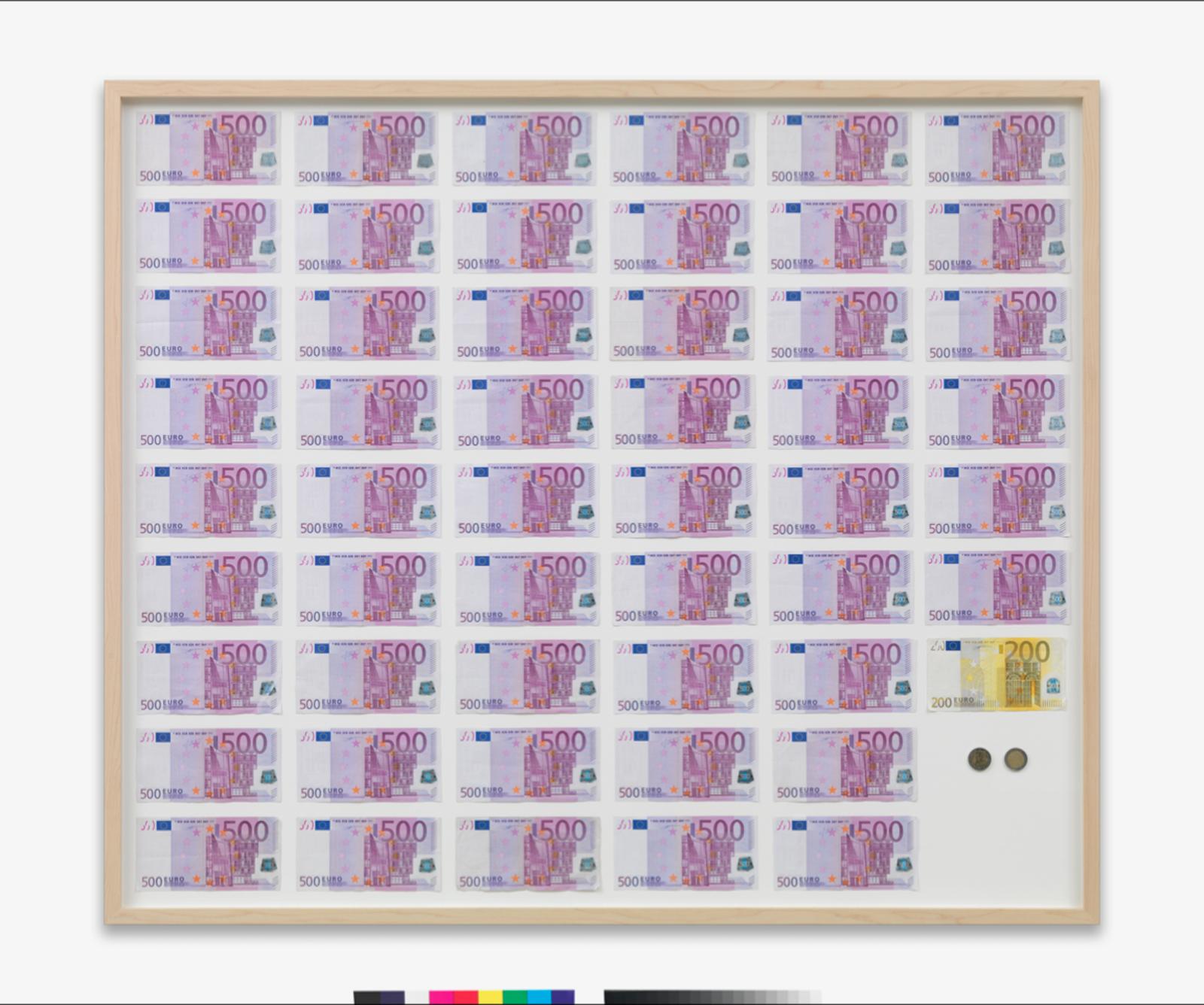 Novas obras deveriam ser versões atualizadas de trabalhos feitos em 2007 e 2010; na foto, o quadro 'Salário médio anual de um austríaco', de 2007