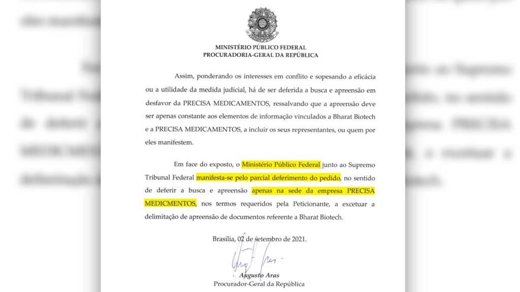 Parecer do PGR, Augusto Aras, sobre operação de busca e apreensão na Precisa Medicamentos