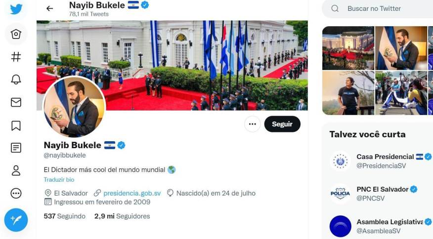Perfil no Twitter de Nayib Bukele, presidente de El Salvador