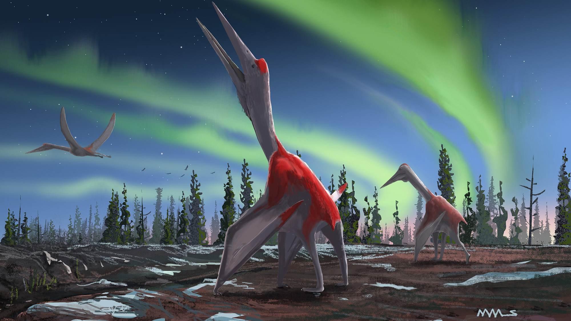 Representação artística mostra os Cryodrakons no solo e no ar
