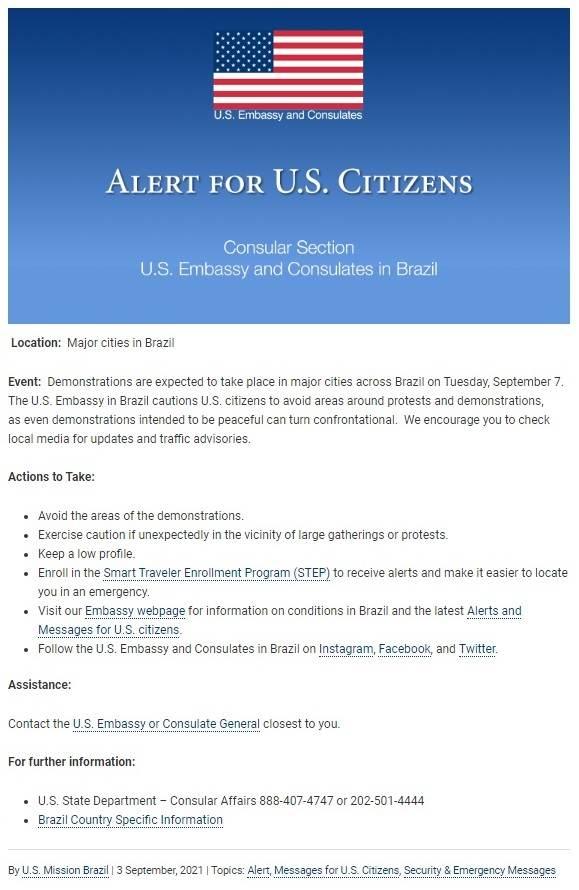 Comunicado da embaixada dos Estados Unidos aos cidadãos americanos