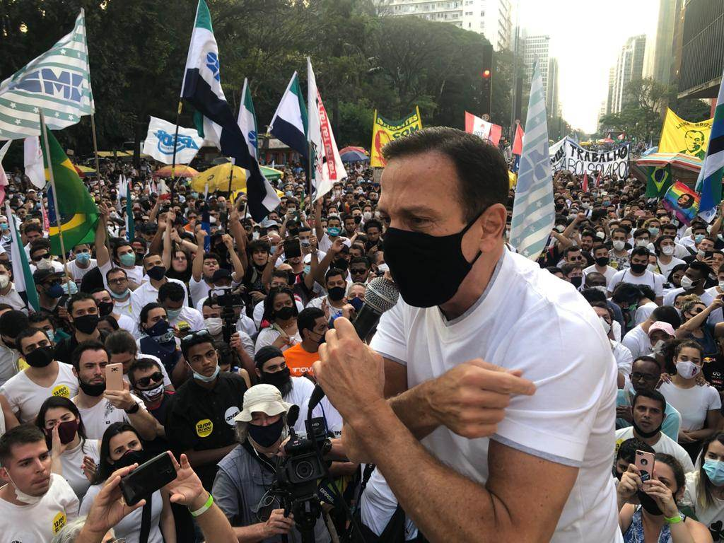 O governador de São Paulo, João Doria, durante protesto contra o governo Bolsonaro na Avenida Paulista