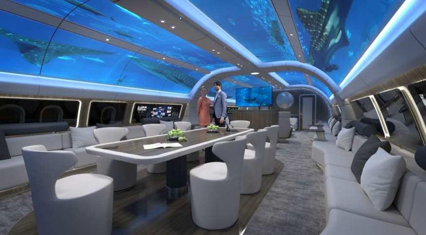 """Cabine """"Explorer"""" de jato projetado pela Lufthansa Technik"""