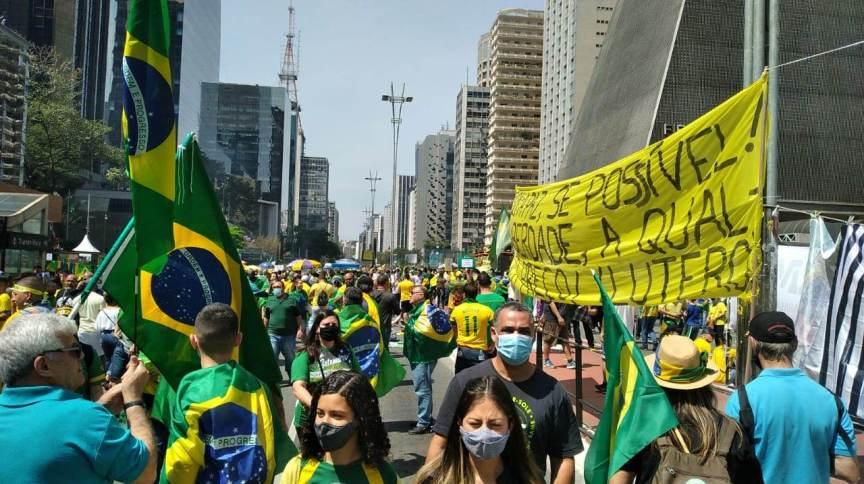 Manifestantes na Avenida Paulista para atos do 7 de Setembro nesta terça-feira