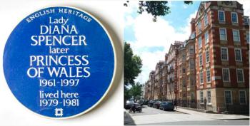 Diana viveu no local de 1979 a 1981, antes de se tornar princesa; placa azul do Patrimônio Inglês é reconhecimento de figuras notáveis