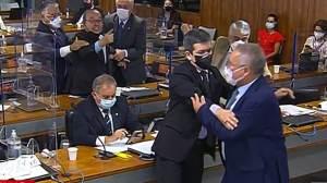 Renan Calheiros e Jorginho Mello batem boca e trocam xingamentos na CPI; veja