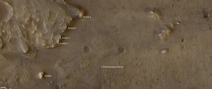 O Perseverance foi enviado para a Cratera Jezero com o objetivo de confirmar se o local já abrigou um lago. Ele explorou principalmente a região de um antigo delta, uma formação rochosa na foz de um rio  Crédito: NASA/JPL-Caltech/University of Arizona/USGS