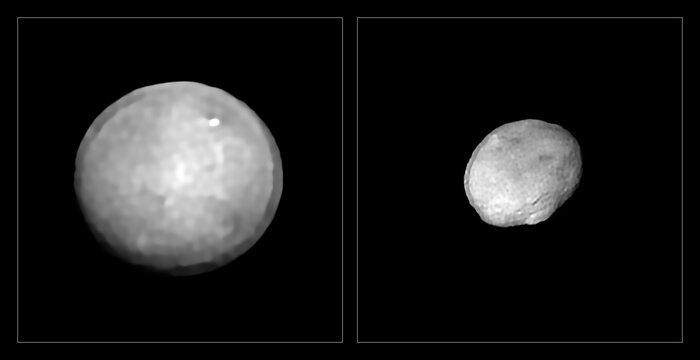 Imagens de Ceres e Vesta (direita), maiores asteroides identificados pelo VLT e pelo Sphere