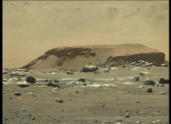 O delta identificado a partir das fotos do Perseverance é considerado um local favorável para encontrar rochas que possam conter matéria orgânica  Crédito: NASA/JPL-Caltech/ASU/MSSS