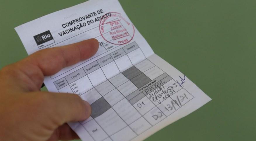 Comprovante de vacinação do Rio de Janeiro